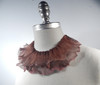 Light copper Ruffle Necklace with tan opal edges and  brown shading, side view.
