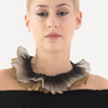 Double Ruffle necklace of knitted copper wire. This image is of an oxidized black necklace with gold and silver frills.