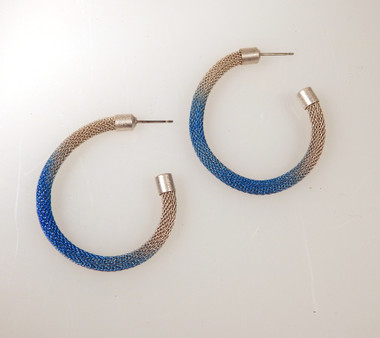 Silver hoop with Sparkle Blue