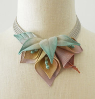 Lily Collage Necklace in Silver with Pink, Orange and Yellow