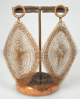 Large Diamond Shaped Crocheted Earrings
