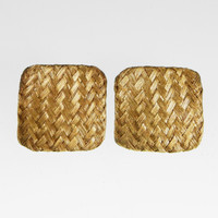 Square Gold Woven Mesh Earring clip