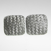 Square Silver Woven Mesh Earring clip