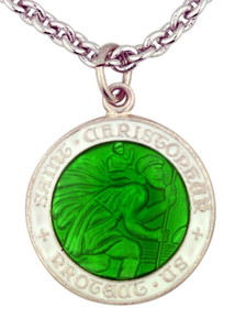 "Saint Christopher White and Green Enamel 3/4"" Sterling Silver Surfer Medal"