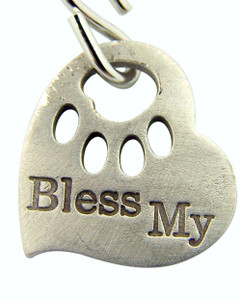 "Religious Gift Paw Print Bless My Pet Heart Shape Dog Cat Animal Collar 1"" Silver Plate Pendant Tag Medal"