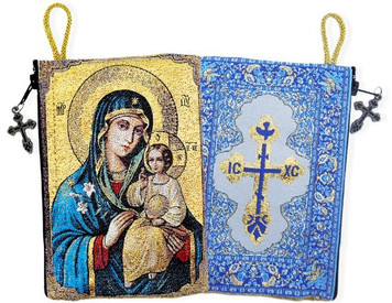 Virgin Mary Madonna & Child Icon Cloth Tapestry Rosary Zipper Close Pouch Keepsake Holder