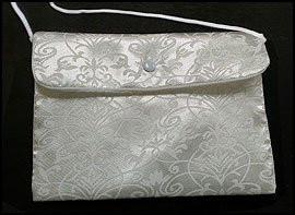 "Catholic Girls First Holy Communion Gift White Satin Damask Pattern 7"" Button Snap Close Keepsake Purse Tote Handbag"
