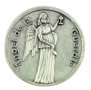 "Guardian ""Angel de la Guardia"" Pocket Token Coin with Spanish Prayer"