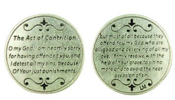 "Devotional Pocket Token Coin with Catholic Church Prayer ""The Act of Contrition"""
