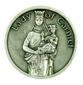 Blessed Virgin Mary Our Lady of Mt Carmel Silver Plated Pocket Token Prayer Coin