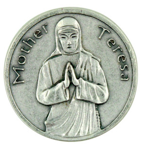 """I See God in Every Human Being"" Mother Teresa Silver Plated Pocket Token Coin"