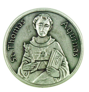 Patron of Academics Saint St Thomas Aquinas Pocket Token Coin with Prayer Back