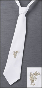First Holy Communion Gold Embroidered Chalice Design White Cotton Adjustable Dress Neck Tie