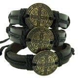LOT 3 Leather Saint Benedict Bracelet Pack S M L Bronze Tone Medal