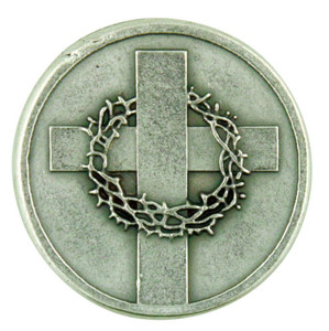 Cross with Crown of Thorns Silver Plated Pocket Coin with John 14:6 Scripture