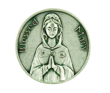 Blessed Mary Mother of God Silver Plated Pocket Token Coin with Prayer Back