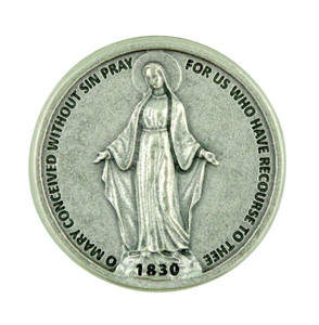 Our Lady of Grace Miraculous Medal Pocket Token Coin with Hail Mary Prayer Back