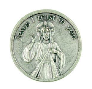 """Jesus I Trust in You"" Divine Mercy of Christ Pocket Token Coin with Prayer Back"