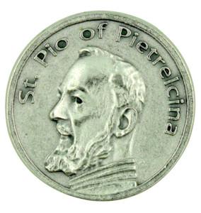 Patron Saint St Padre Pio of Pietrelcina Pocket Token Coin with Prayer Back