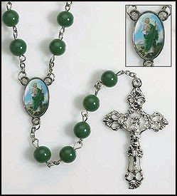 Green Prayer Beads Rosary with St Jude Centerpiece