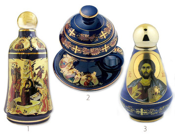 RARE NEW BLue Ceramic Icon Holy Water Bottle Containers & Incense Burner W Lid