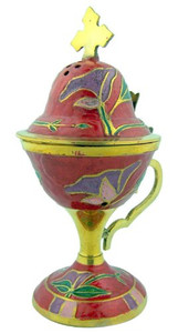 "Sacred Vessal Incense Burner 6 1/2"" Red Enamel over Brass Censer with Hinged Top"