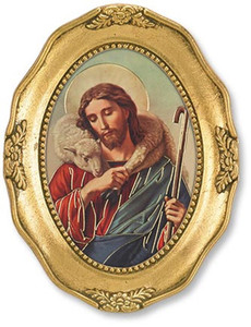 Gerffert Collection Catholic Prints in Gold Leaf Frame, 4 1/2 Inch - Christ the Good Shepherd