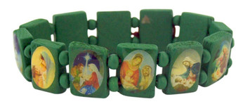 Green Wooden Nativity Stretch Christmas Bracelet