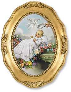 Gerffert Collection Catholic Prints in Gold Leaf Frame, 4 1/2 Inch - Baptism