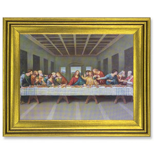 Gerffert Collection Antique Finish Catholic Prints in Gold Tone Wood Frame, 20 Inch - Last Supper