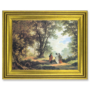 Gerffert Collection Antique Finish Catholic Prints in Gold Tone Wood Frame, 28 Inch - Way to Emmaus