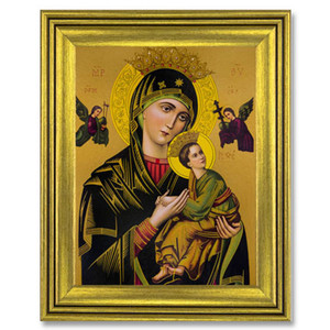 Gerffert Collection Antique Finish Catholic Prints in Gold Tone Wood Frame, 20 Inch - Our Lady of Perpetual Help