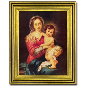 Gerffert Collection Antique Finish Catholic Prints in Gold Tone Wood Frame, 20 Inch - Madonna and Child