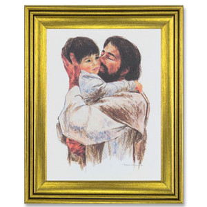 Gerffert Collection Antique Finish Catholic Prints in Gold Tone Wood Frame, 19 Inch - Love
