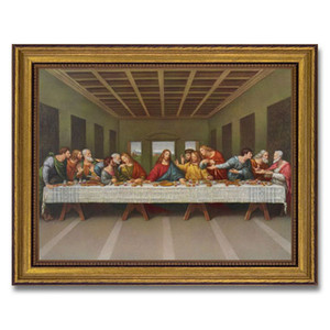 Gerffert Collection Antique Finish Catholic Prints in Gold Leaf Wood Frame, 18 Inch - Last Supper