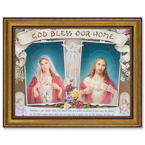 Gerffert Collection Antique Finish Catholic Prints in Gold Leaf Wood Frame, 18 Inch - God Bless Our Home