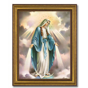 Gerffert Collection Antique Finish Catholic Prints in Gold Leaf Wood Frame, 18 Inch - Our Lady of Grace