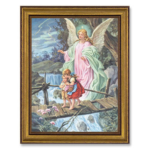 Gerffert Collection Antique Finish Catholic Prints in Gold Leaf Wood Frame, 18 Inch - Guardian Angel