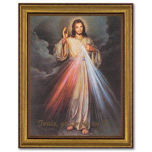 Gerffert Collection Antique Finish Catholic Prints in Gold Leaf Wood Frame, 18 Inch - Jesus Misericordioso