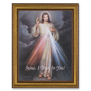Gerffert Collection Antique Finish Catholic Prints in Gold Leaf Wood Frame, 18 Inch - Divine Mercy