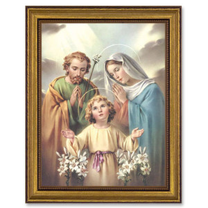 Gerffert Collection Antique Finish Catholic Prints in Gold Leaf Wood Frame, 18 Inch - Holy Family