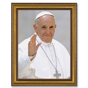 Gerffert Collection Antique Finish Catholic Prints in Gold Leaf Wood Frame, 18 Inch - Pope Francis