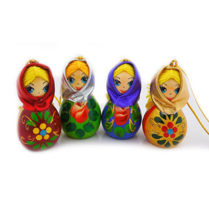 Hand Carved and Painted Russian Wood Christmas Ornament Girl with Scarf