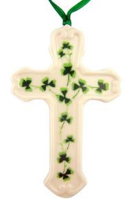 Irish Shamrock Cross Porcelain Christmas Tree Ornament