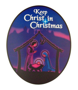"""Keep Christ in Christmas"" Nativity Scene Flexible Car Magnet"