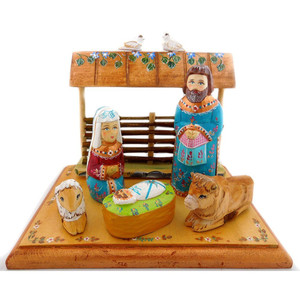 Russian Wooden Nativity Scene Set Christmas Decoration