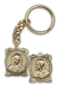 Antique Gold Tone Immaculate Heart of Mary Keychain