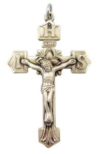 Sterling Silver IHS Edge Jesus Christ Cross Crucifix Pendant, 1 15/16 Inch