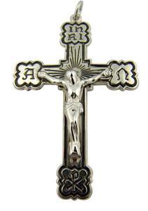 Sterling Silver Black Enamel Alpha Omega Chi Rho Cross Crucifix, 2 Inch
