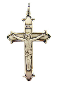 Sterling Silver Jesus Christ Cross Crucifix Pendant with Trinity Edge, 1 1/2 Inch